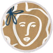 Flower Girl Round Beach Towel