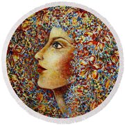 Round Beach Towel featuring the painting Flower Goddess. by Natalie Holland