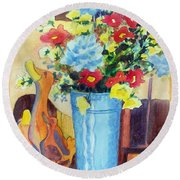 Round Beach Towel featuring the painting Flower In The Dell by Kathy Braud