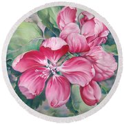 Flower Of Crab-apple Round Beach Towel