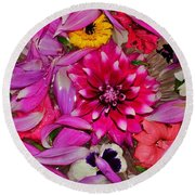 Flower Offerings - Jabalpur India Round Beach Towel