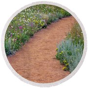 Flower Path Round Beach Towel