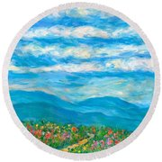Flower Path To The Blue Ridge Round Beach Towel by Kendall Kessler