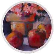 Flower Pot And Apples Round Beach Towel by Michelle Abrams