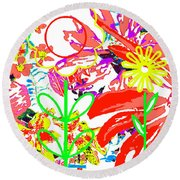 Round Beach Towel featuring the mixed media Flower Power by Beth Saffer