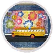 Flower Power Round Beach Towel by Ron Davidson