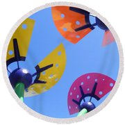 Flower Sculpture Round Beach Towel