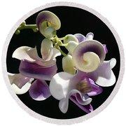 Flower-snail Flower Round Beach Towel by Joy Watson