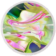 Flower Song Abstract Round Beach Towel by rd Erickson