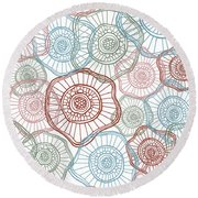 Flower Squiggle Round Beach Towel