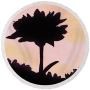 Round Beach Towel featuring the drawing Flower - Sunrise by D Hackett