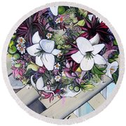 Floral Wreath Round Beach Towel by Mary Ellen Frazee