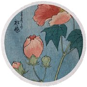 Flowering Poppies Tanzaku Round Beach Towel