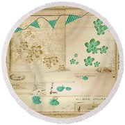 Flowers And Bunting Round Beach Towel