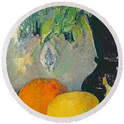 Flowers And Fruits Round Beach Towel by Paul Cezanne