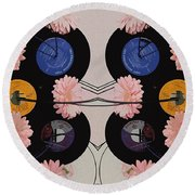 Flowers And Phonographs Round Beach Towel