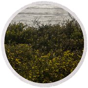 Flowers And The Sea Round Beach Towel by Allen Sheffield