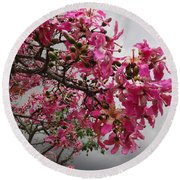 Flowers And Thorns And The Sky Adorned  Round Beach Towel