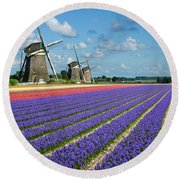 Landscape In Spring With Flowers And Windmills In Holland Round Beach Towel