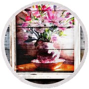 Flowers And Wood Round Beach Towel by Patricia Greer