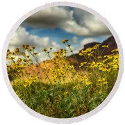 Flowers Are Food For The Soul  Round Beach Towel