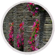 Flowers At Liscannor Rock Shop Round Beach Towel