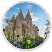 Flowers At Temple Square Round Beach Towel