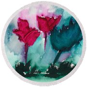 Flowers For Trees Round Beach Towel by Frank Bright