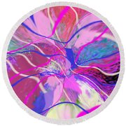 Original Contemporary Abstract Art Flowers From Heaven Round Beach Towel