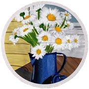 Flowers In A Teapot Round Beach Towel by Laura Forde