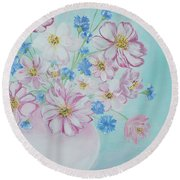 Flowers In A Vase. Inspirations Collection Round Beach Towel