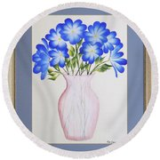 Flowers In A Vase Round Beach Towel by Ron Davidson