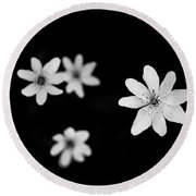 Flowers In Black Round Beach Towel