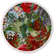 Round Beach Towel featuring the digital art Flowers In Bloom by Liane Wright