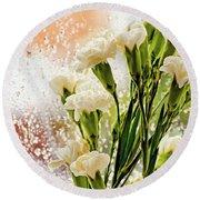 Flowers In Digital Impasto Round Beach Towel