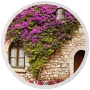 Flowers In Eze Round Beach Towel
