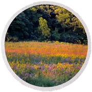 Flowers In The Meadow Round Beach Towel by Deb Halloran