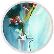 Flowers In Vase Round Beach Towel by Anil Nene