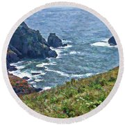 Flowers On Isle Of Guernsey Cliffs Round Beach Towel