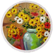 Flowers - Still Life Round Beach Towel