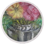 Round Beach Towel featuring the painting Flowers by Teresa White
