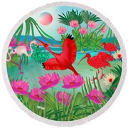 Flowery Lagoon - Limited Edition 1 Of 20 Round Beach Towel by Gabriela Delgado