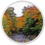 Flowing Into October Round Beach Towel by MTBobbins Photography