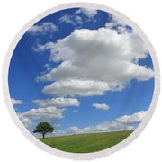 Fluffy Clouds Over Epsom Downs Surrey Round Beach Towel