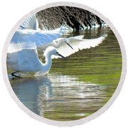 Round Beach Towel featuring the photograph Flurry by Deb Halloran
