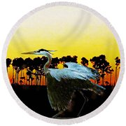 Fly Away Bird Round Beach Towel by Lizi Beard-Ward