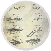 1922 Fly Fishing Lure Patent Drawing Round Beach Towel by Jon Neidert