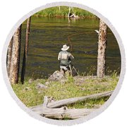 Round Beach Towel featuring the photograph Fly Fishing by Mary Carol Story