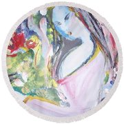 Round Beach Towel featuring the painting Fly Free by Judith Desrosiers