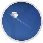 Fly Me To The Moon Round Beach Towel by Cricket Hackmann